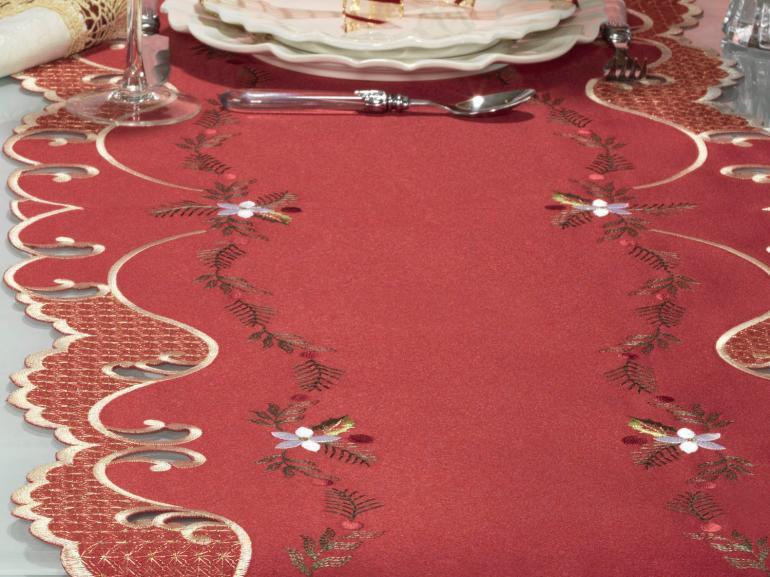 Trilho de Mesa Natal com Bordado Richelieu 45x170cm Avulso - Celebrate Vermelho - Dui Design