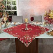 Centro de Mesa Natal Quadrado com Bordado Richelieu 85x85cm - Celebrate Vermelho - Dui Design