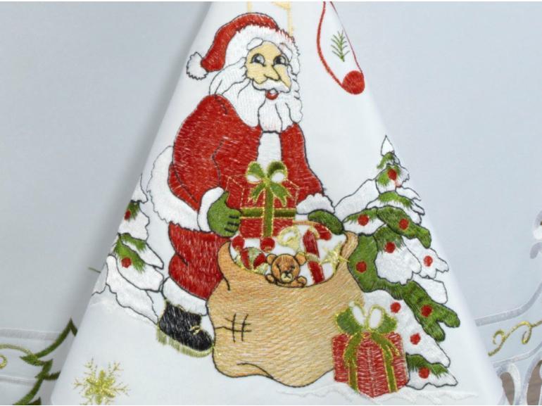 Toalha de Mesa Natal com Bordado Richelieu Quadrada 4 Lugares 160x160cm - Celestial Branco - Dui Design