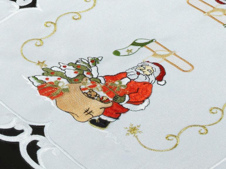 Jogo Americano Natal 4 Lugares (4 peças) com Bordado Richelieu 35x50cm - Celestial Branco - Dui Design
