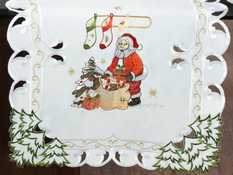 Trilho de Mesa Natal com Bordado Richelieu 45x170cm Avulso - Celestial Branco - Dui Design