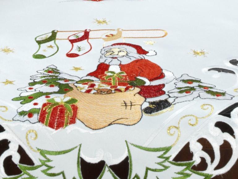 Centro de Mesa Natal Quadrado com Bordado Richelieu 85x85cm - Celestial Branco - Dui Design
