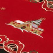 Trilho de Mesa Natal com Bordado Richelieu 40x85cm Avulso - Celestial Vermelho - Dui Design