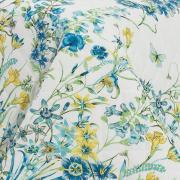Kit: 1 Cobre-leito Casal + 2 Porta-travesseiros Percal 200 fios - Celine Azul - Dui Design