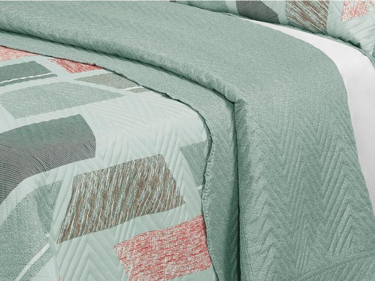 Kit: 1 Cobre-leito Casal Bouti de Microfibra Ultrasonic Estampada + 2 Porta-travesseiros - Century Confrei - Dui Design
