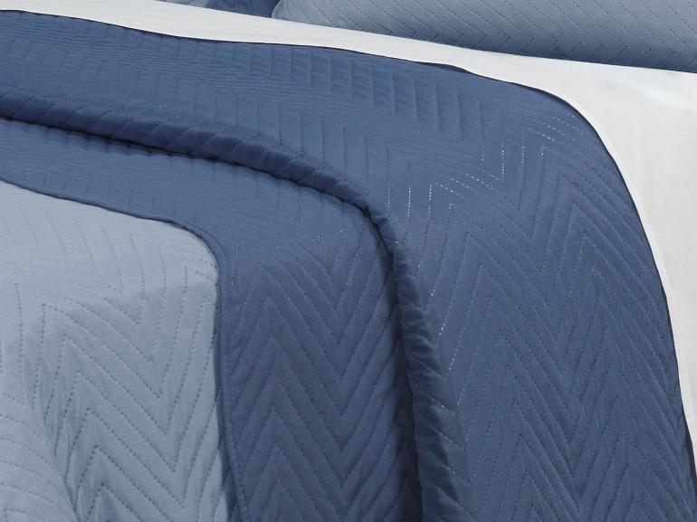 Kit: 1 Cobre-leito Solteiro Bouti de Microfibra Ultrasonic + 1 Porta-travesseiro - Chiba Azul (Jeans/Indigo) - Dui Design