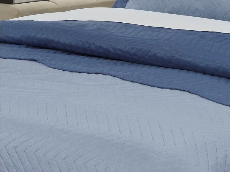 Kit: 1 Cobre-leito Casal Bouti de Microfibra Ultrasonic + 2 Porta-travesseiros - Chiba Azul (Jeans/Indigo) - Dui Design