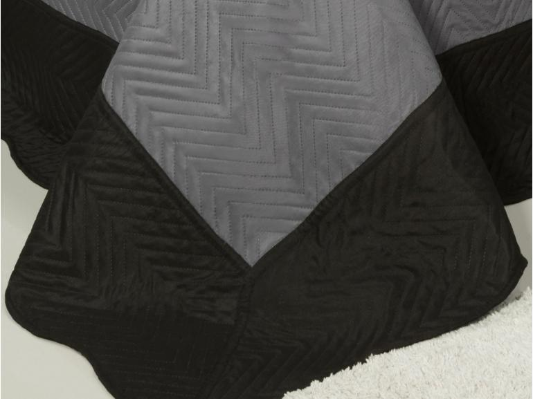 Kit: 1 Cobre-leito King Bouti de Microfibra Ultrasonic + 2 Porta-travesseiros - Chiba Cinza e Preto - Dui Design