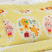 Kit: 1 Cobre-leito Casal Kids Bouti de Microfibra PatchWork Ultrasonic + 2 Porta-travesseiros - Chiquitas - Dui Design