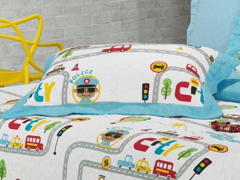 Kit: 1 Cobre-leito Casal Kids Bouti de Microfibra PatchWork Ultrasonic + 2 Porta-travesseiros - City Azul Indigo - Dui Design