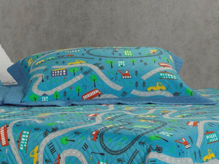 Kit: 1 Cobre-leito Casal Kids Bouti de Microfibra PatchWork Ultrasonic + 2 Porta-travesseiros - City Toys - Dui Design