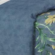Kit: 1 Cobre-leito Solteiro Bouti de Microfibra Ultrasonic Estampada + 1 Porta-travesseiro - Clara Azul - Dui Design