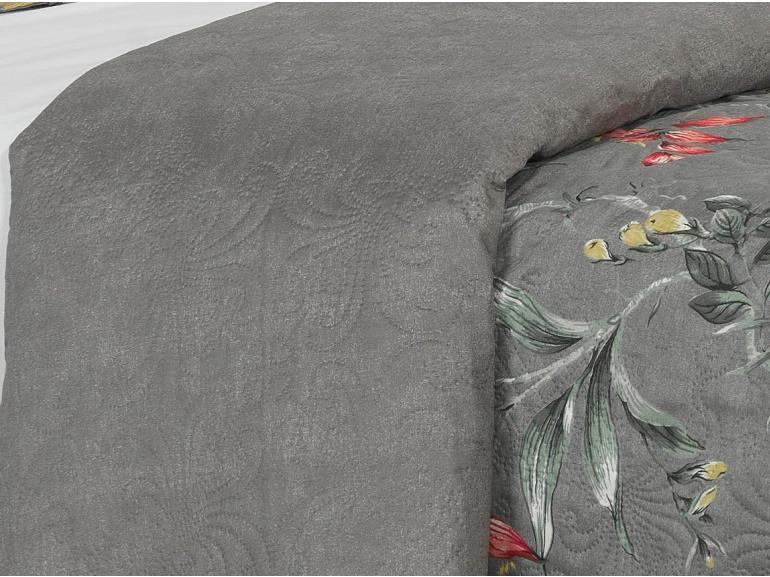 Kit: 1 Cobre-leito Casal Bouti de Microfibra Ultrasonic Estampada + 2 Porta-travesseiros - Clara Cinza - Dui Design