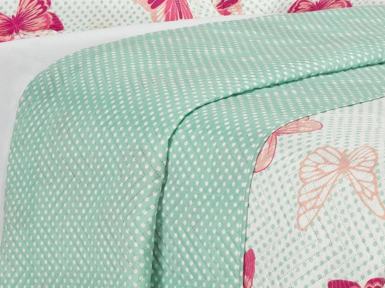 Kit: 1 Cobre-leito Solteiro Bouti de Microfibra Ultrasonic Estampada + 1 Porta-travesseiro - Clarinha Turquesa - Dui Design
