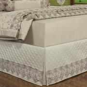 Saia para cama Box Matelassada com Bordado Inglês Solteiro - Classic Bege - Dui Design