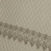 Enxoval 10 peças com Cobre-leito King Cetim de Algodão 300 fios com Bordado Inglês - Classic Bege - Dui Design
