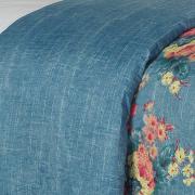 Kit: 1 Cobre-leito Queen Bouti de Microfibra Ultrasonic Estampada + 2 Porta-travesseiros - Claudia Azul - Dui Design