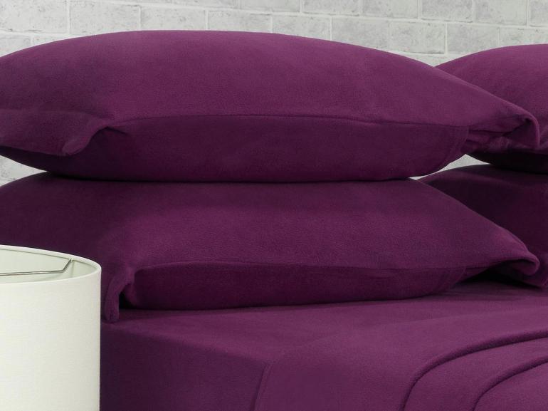 Jogo de Cama Queen Plush feito de Manta de Microfibra - Conforto Ameixa - Dui Design