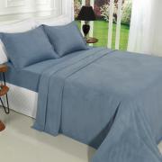 Jogo de Cama Casal Plush feito de Manta de Microfibra - Conforto Azul Stone - Dui Design