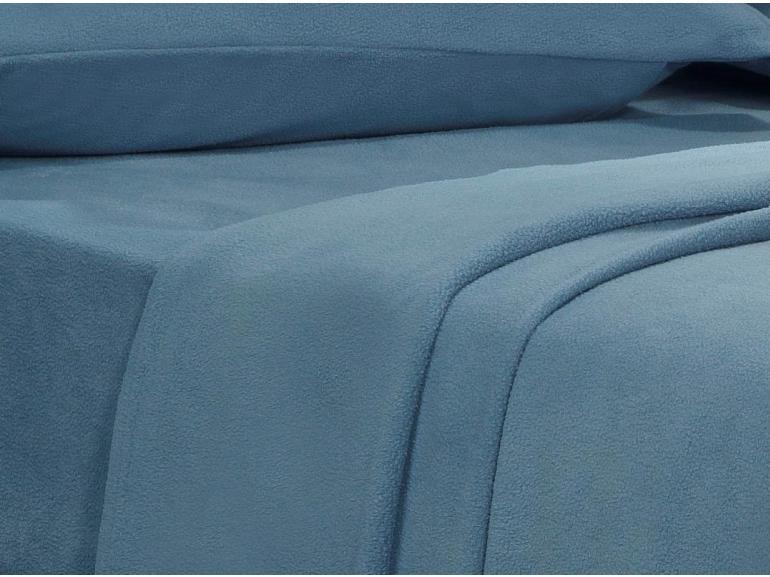 Jogo de Cama Solteiro Plush feito de Manta de Microfibra - Conforto Azul Stone - Dui Design