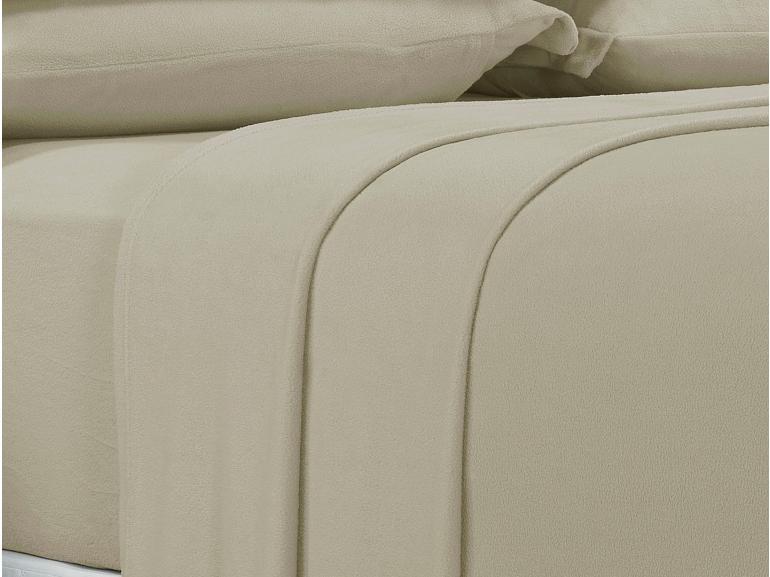 Jogo de Cama Casal Plush feito de Manta de Microfibra - Conforto Bege Areia - Dui Design