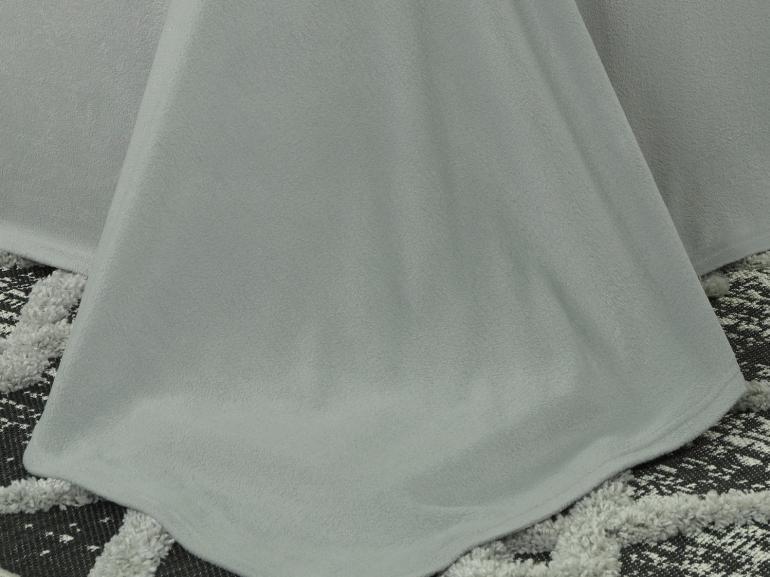 Jogo de Cama Casal Plush feito de Manta de Microfibra - Conforto Cinza Prata - Dui Design