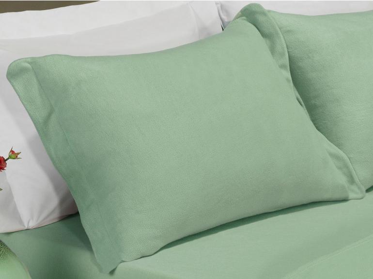 Jogo de Cama Casal Plush feito de Manta de Microfibra - Conforto Verde Cameo - Dui Design