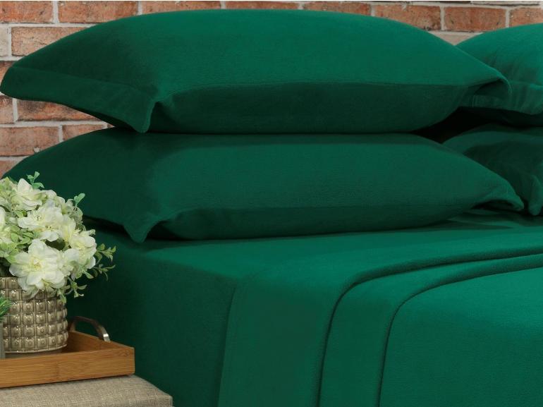 Jogo de Cama Casal Plush feito de Manta de Microfibra - Conforto Verde Ultramarine - Dui Design