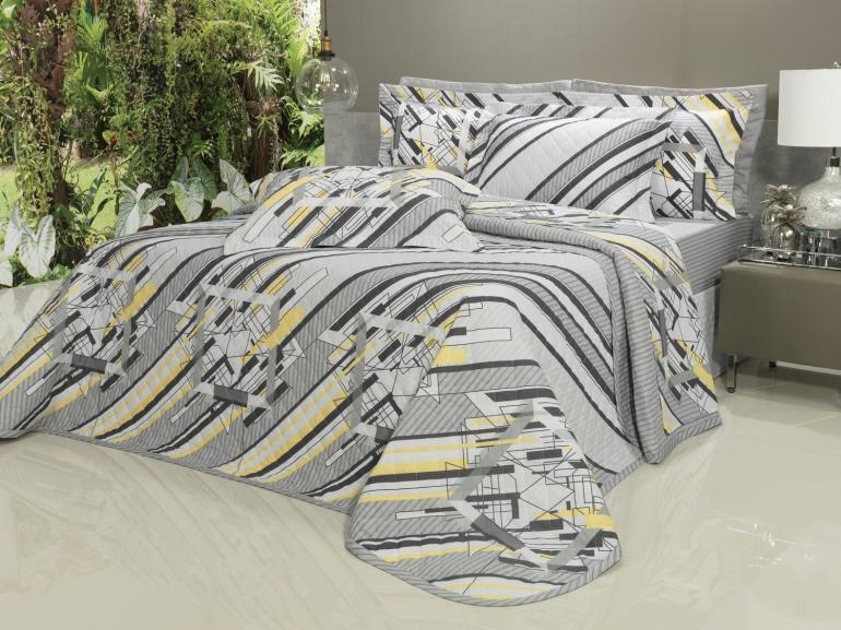 Kit: 1 Cobre-leito Casal + 2 Porta-travesseiros 150 fios - Connor Grafite - Dui Design