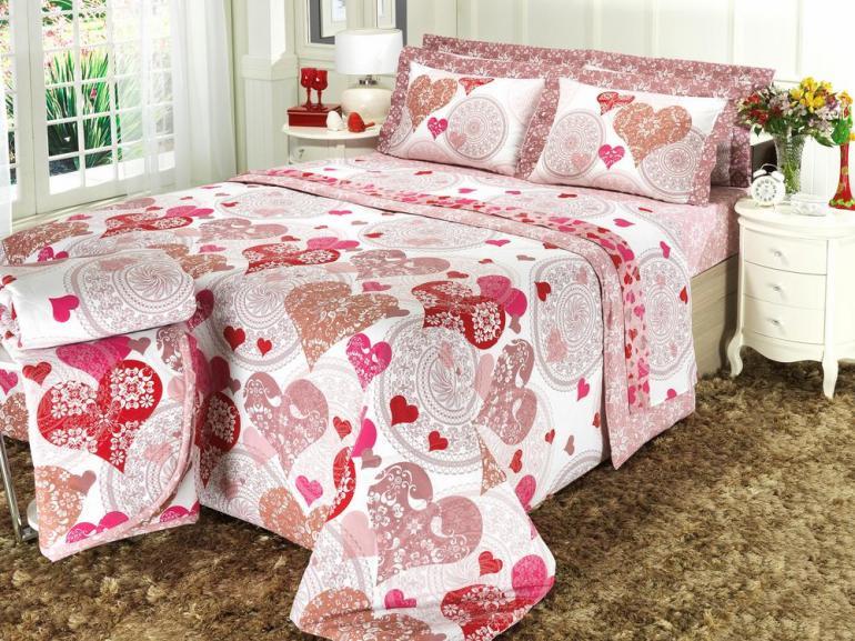 c31266a9df Edredom Casal 150 fios 100% Algodão - Coração Pink - Dui Design ...