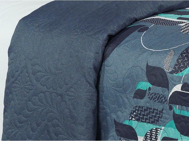 Kit: 1 Cobre-leito Casal Bouti de Microfibra Ultrasonic Estampada + 2 Porta-travesseiros - Cortez Azul - Dui Design