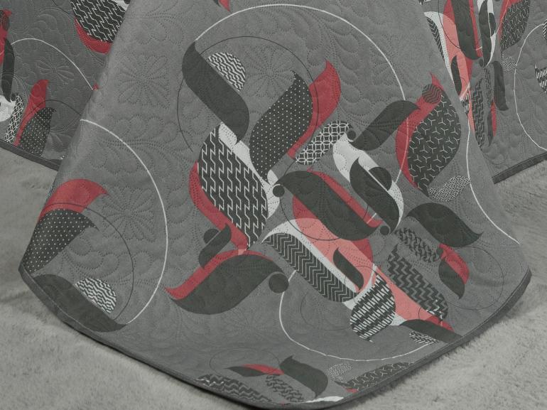 Kit: 1 Cobre-leito Solteiro Bouti de Microfibra Ultrasonic Estampada + 1 Porta-travesseiro - Cortez Cinza - Dui Design