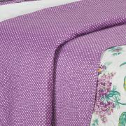 Kit: 1 Cobre-leito Casal Bouti de Microfibra Ultrasonic Estampada + 2 Porta-travesseiros - Crista Lilás - Dui Design