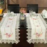 Trilho de Mesa com Bordado Richelieu 45x170cm Avulso - Cristina Natural e Rosa - Dui Design