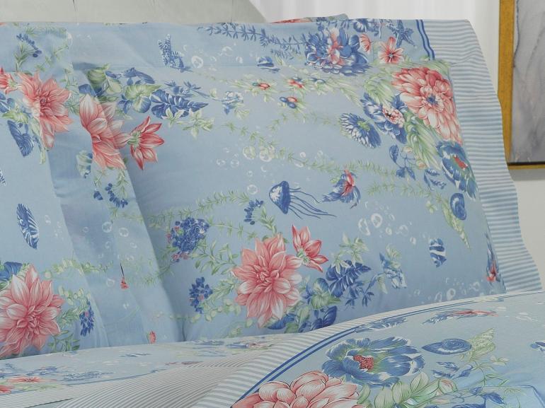 Jogo de Cama Queen Percal 200 fios - Crystal Azul - Dui Design