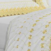 Jogo de Cama Queen Percal 200 fios com Bordado Inglês - Daisy Branco e Amarelo - Dui Design