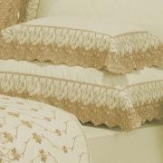 Kit: 1 Cobre-leito King + 2 porta-travesseiros Percal 200 fios com Bordado Inglês - Daisy Marfim e Mel - Dui Design