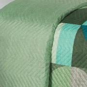 Kit: 1 Cobre-leito King Bouti de Microfibra Ultrasonic Estampada + 2 Porta-travesseiros - Dallas Verde - Dui Design