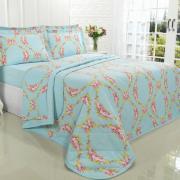 Kit: 1 Cobre-leito Casal + 2 Porta-travesseiros 150 fios - Danila Azul - Dui Design