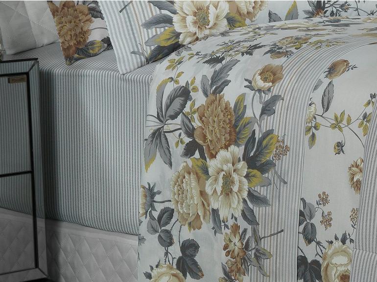 Jogo de Cama Queen Percal 180 fios - Darlene Sephia - Dui Design