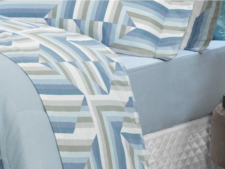 Jogo de Cama Queen Percal 200 fios - Darwin Azul - Dui Design