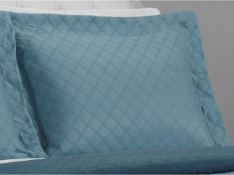 Kit: 1 Cobre-leito King Bouti de Microfibra Ultrasonic + 2 Porta-travesseiros - Davos Azul - Dui Design