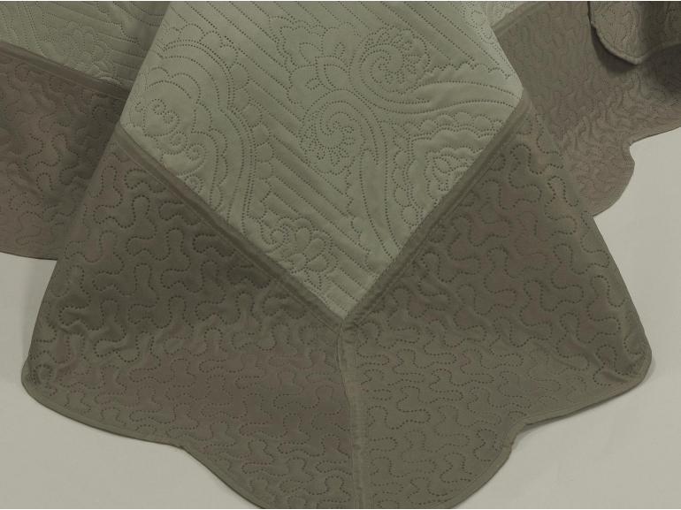 Kit: 1 Cobre-leito Queen Bouti de Microfibra Ultrasonic + 2 Porta-travesseiros - Davos Bege e Taupe - Dui Design