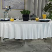 Toalha de Mesa Fácil de Limpar Redonda 220cm - Davos Branco - Dui Design