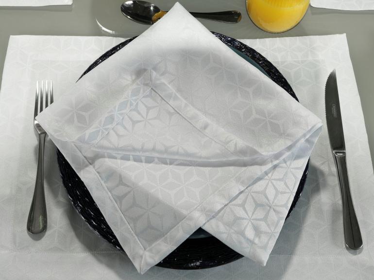Kit: 4 Guardanapos 50x50cm - Davos Branco - Dui Design