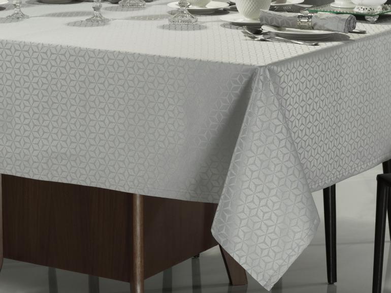 Toalha de Mesa Fácil de Limpar Retangular 6 Lugares 160x220cm - Davos Cinza - Dui Design