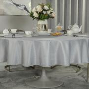 Toalha de Mesa Fácil de Limpar Redonda 220cm - Davos Cinza - Dui Design