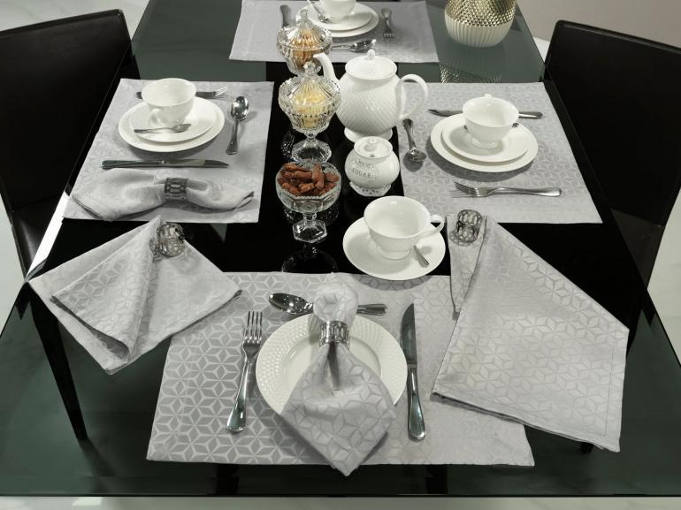 Kit: 4 Guardanapos 50x50cm - Davos Cinza - Dui Design