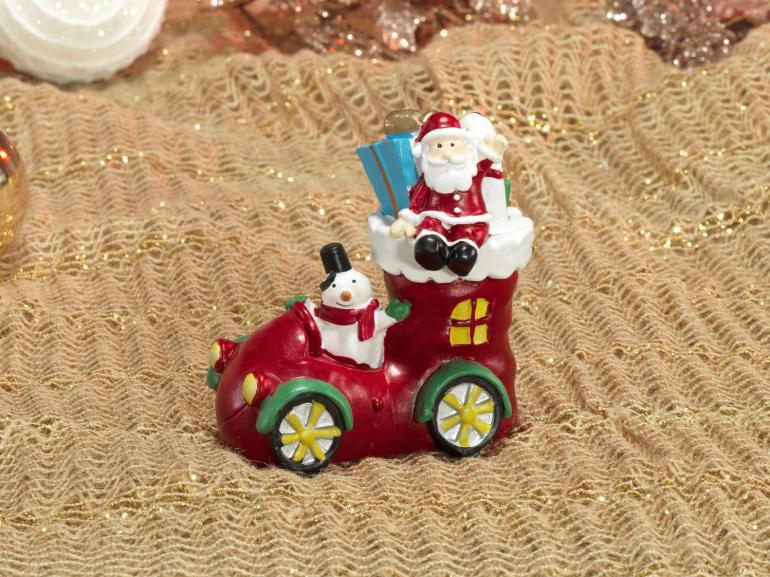 Decoração Natal de Poliresina com 9,6cm de altura - Bota do Papai Noel - Dui Design