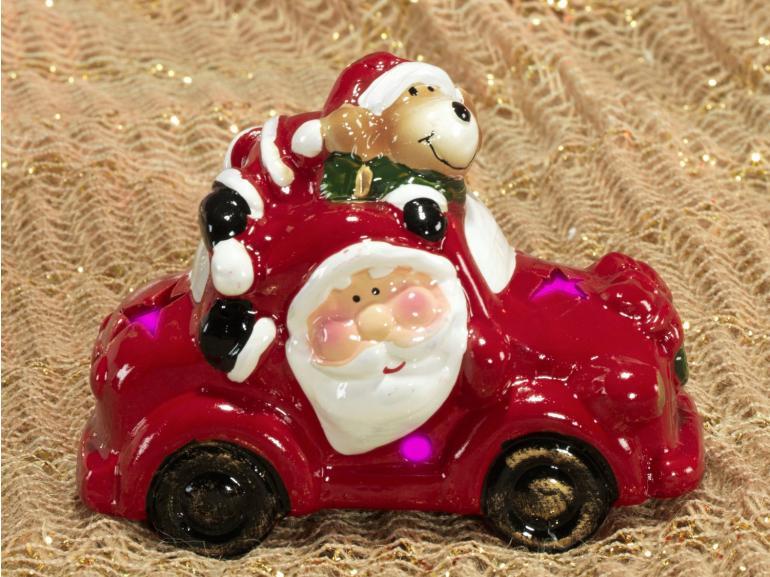 Decoração Natal de Cerâmica com Led 9,3cm de altura - Carro Papai Noel - Dui Design